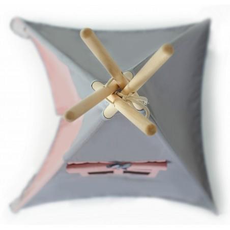 Namiot Tipi Szary/Pudrowy Róż - 10 Elementów