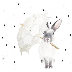 Naklejka Królik w deszczu