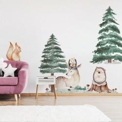 Naklejki na ścianę - Jeleń Jeż Wiewiórka  DK319