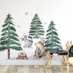 Naklejki na ścianę - Miś Szop Mysz Wiewiórka  DK320