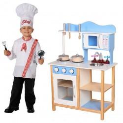 Drewniana Kuchnia dla dzieci z wyposażeniem Błękitna