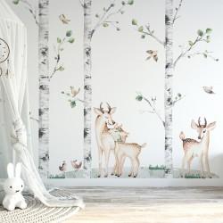 Naklejki na ścianę - Komplet: Brzozy i Jelonki K01