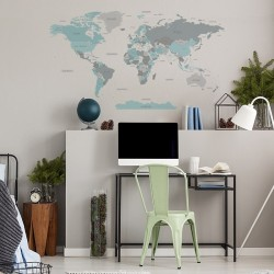 Mapa Świata Niebieska DK346 - Naklejki na ścianę