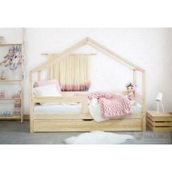 Łóżko Domek z szufladą i barierką prostą