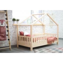 Łóżko HouseBed z barierką płotek - Łóżko Domek