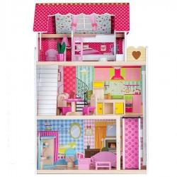 Drewniany domek dla lalek - Rezydencja Malinowa z Windą