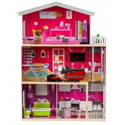 Drewniany domek dla lalek z windą EcoToys - Rezydencja Malibu