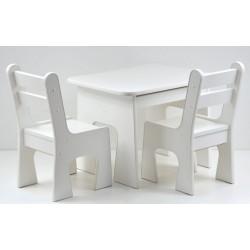 Otwierany stolik z krzesełkami z szufladą Biały