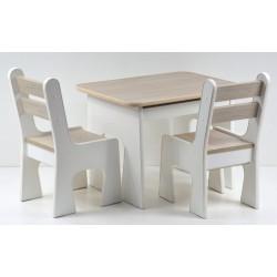 Otwierany stolik z krzesełkami z szufladą Jasny Dąb