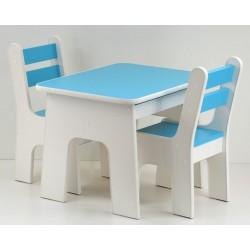Otwierany stolik i krzesełka z szufladą Turkusowy