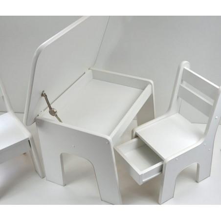 Otwierany stolik i krzesełka z szufladą Biały