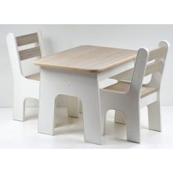 Otwierany stolik i krzesełka z szufladą Jasny Dąb