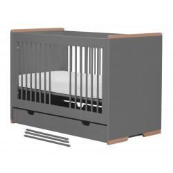 Łóżeczko ciemne szare 120x60 Snap Pinio