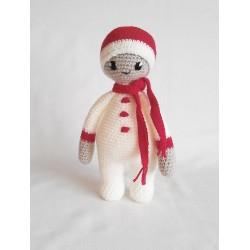 Śniegowa lala miś szydełkowy