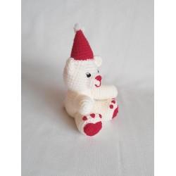 Śniegowy miś szydełkowy mały
