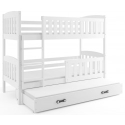 Łóżko piętrowe 3 osobowe Kubuś 200x90 z materacami Białe