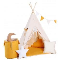 Namiot Tipi Kremowy Miodek z okienkiem i matą