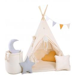Namiot Tipi Kremowy Obłoczek z okienkiem i matą