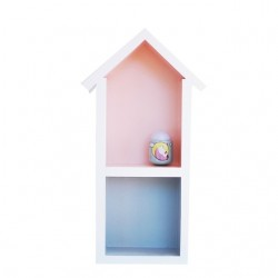 Domek półka - średni - róż + szary