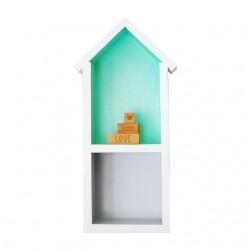 Domek półka - średni - mięta + szary