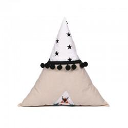 Poduszka trójkąt z pomponikami Jelonkowy