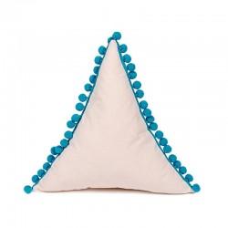 Poduszka trójkąt z pomponikami Kremowa z turkusowymi pomponikami