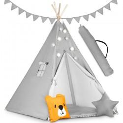 Namiot tipi dla dzieci z girlandą i światełkami - szare