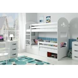 Łóżko piętrowe 2 osobowe Dominik1 z materacami - białe  - wstawki białe