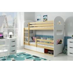 Łóżko piętrowe 2 osobowe Dominik 1 z materacami - sosna - wypełnienie białe
