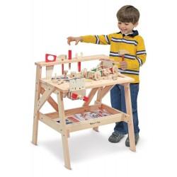 Warsztat majsterkowicza drewniany i zestaw konstrukcyjny 2w1