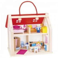 Drewniany domek dla lalek - w walizce z mebelkami