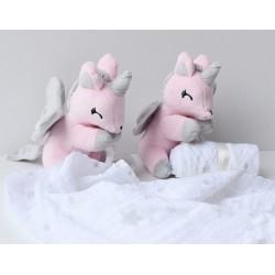Jednorożec różowy z muślinową pieluszką - przytulanki dla dzieci
