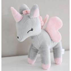 Pluszowy Jednorożec rozmiar M - Szaro-różowy - przytulanki dla dzieci