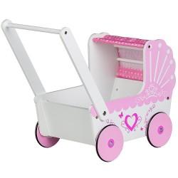 Drewniany wózek dla lalek - biały-roż pchacz Ecotoys