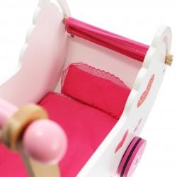 Drewniany wózek dla lalek w serduszka z pościelą