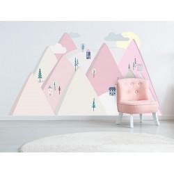 Naklejka na ścianę - Góry różowe