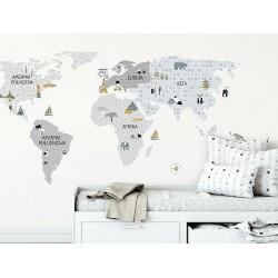 Naklejka na ścianę - Mapa szara