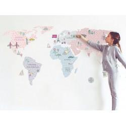 Naklejka na ścianę - Mapa różowa