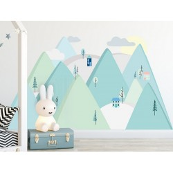 Naklejka na ścianę - Góry miętowe