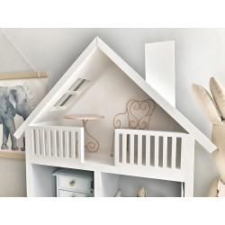 Drewniany domek dla lalek z tarasem - różne kolory - Styl Skandynawski