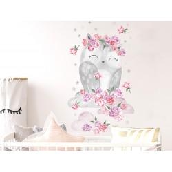 Naklejka na ścianę - Sowa Różowa