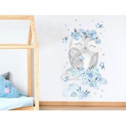 Naklejka na ścianę - Sowa Niebieska