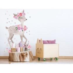 Naklejka na ścianę - Sarenka Różowa