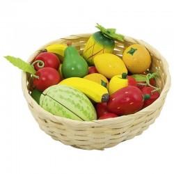 Drewniane owoce w koszyku zestaw 23szt