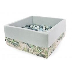 Suchy basen z piłeczkami kwadrat  JASNO SZARY + PALMY - 300 piłeczek ( DOUX )