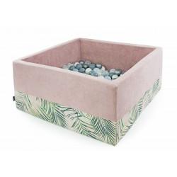 Suchy basen z piłeczkami kwadrat  PUDROWY RÓŻ + PALMY - 300 piłeczek ( DOUX )