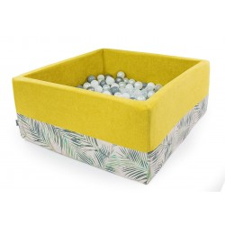 Suchy basen z piłeczkami kwadrat  ŻÓŁTY + PALMY - 300 piłeczek ( DOUX )