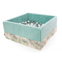 Suchy basen z piłeczkami kwadrat  TURKUSOWY + PALMY - 300 piłeczek ( DOUX )