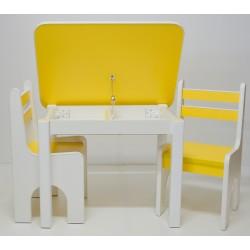 Otwierany stolik z krzesełkami Żółty